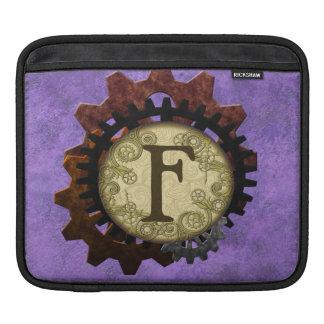 O Grunge Steampunk alinha a letra F do monograma Bolsas De iPad