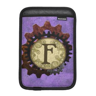O Grunge Steampunk alinha a letra F do monograma Luvas iPad Mini