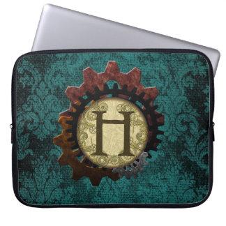 O Grunge Steampunk alinha a letra H do monograma Bolsa E Capa Para Computadore