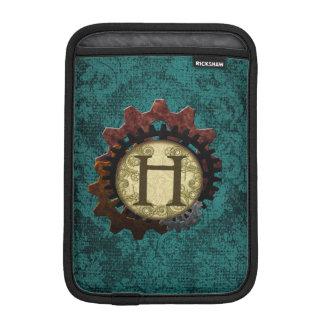 O Grunge Steampunk alinha a letra H do monograma Luvas De iPad Mini