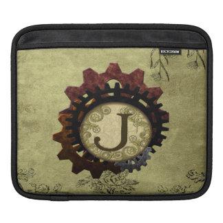 O Grunge Steampunk alinha a letra J do monograma Bolsa De iPad