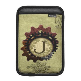 O Grunge Steampunk alinha a letra J do monograma Luvas De iPad Mini