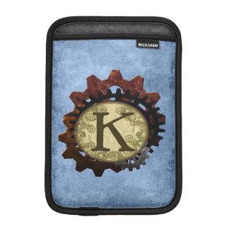 O Grunge Steampunk alinha a letra K do monograma Luvas Para iPad Mini