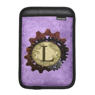 O Grunge Steampunk alinha a letra L do monograma Luvas De iPad Mini