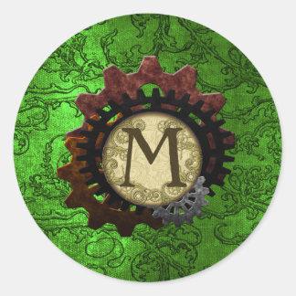 O Grunge Steampunk alinha a letra M do monograma Adesivo Redondo