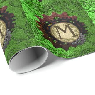 O Grunge Steampunk alinha a letra M do monograma Papel De Presente