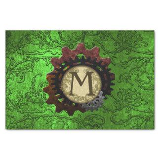 O Grunge Steampunk alinha a letra M do monograma Papel De Seda
