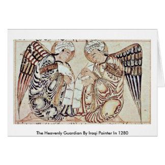 O guardião celestial pelo pintor iraquiano em 1280 cartoes