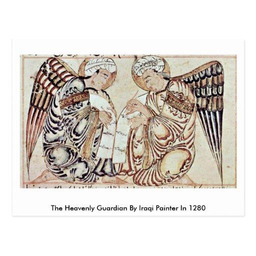O guardião celestial pelo pintor iraquiano em 1280 cartão postal