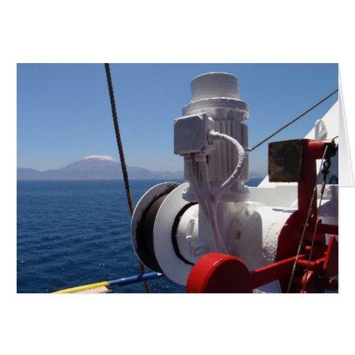 O guincho e a costa africana do navio cartão