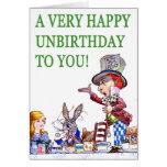 O Hatter louco diz, A muito feliz aniversário! Cartao