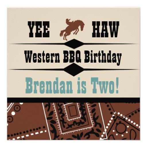 O Haw Brown de Yee e o aniversário ocidental azul  Convite Personalizado