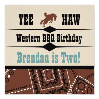 O Haw Brown de Yee e o aniversário ocidental azul Convite Quadrado 13.35 X 13.35cm