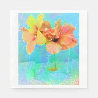 O hibiscus havaiano floresce o guardanapo de papel