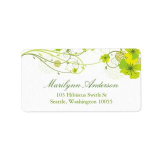 O hibiscus verde floral roda etiquetas de