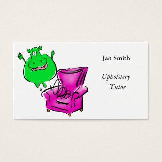 O hipopótamo em uns trabalhos de arte da cadeira cartão de visitas