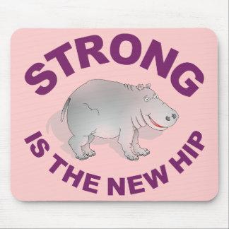 O hipopótamo, forte é o quadril novo mouse pads