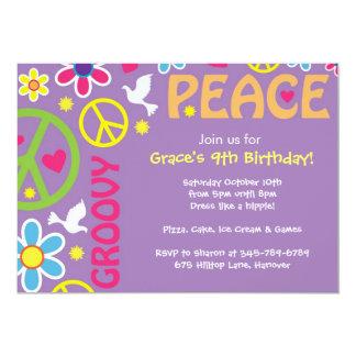 O Hippie, sinal de paz, tema dos anos 60, partido Convites Personalizado
