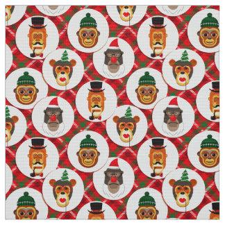 o hipster do Natal monkeys o tecido do xmas