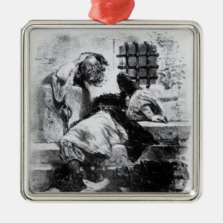O homem na máscara do ferro em sua prisão ornamento quadrado cor prata