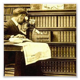 O homem que vê Stereoview carda o vintage Impressão De Foto