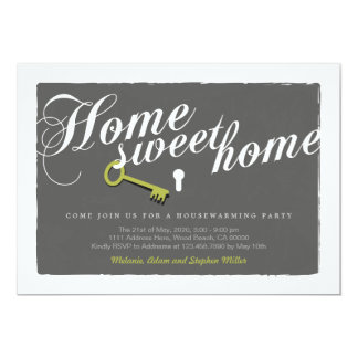 O Housewarming cinzento do fechamento da chave do Convite 12.7 X 17.78cm