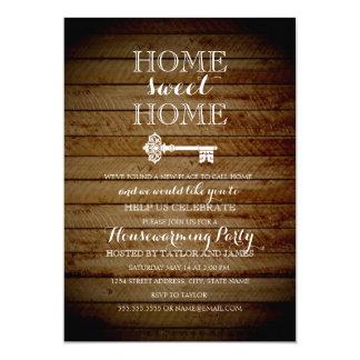 O Housewarming de madeira chave do olhar do Convite 12.7 X 17.78cm