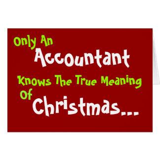O humor do Natal do contador adiciona o subtítulo Cartão Comemorativo