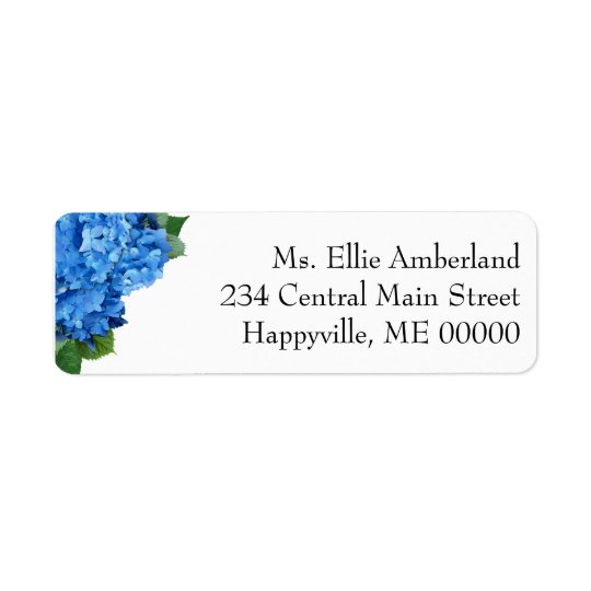 O Hydrangea azul floresce o endereço do remetente Etiqueta Endereço De Retorno