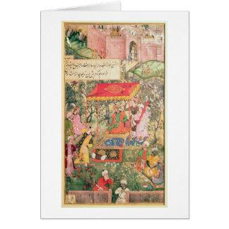 O imperador Babur do líder recebe os enviado Uzbeg Cartão Comemorativo