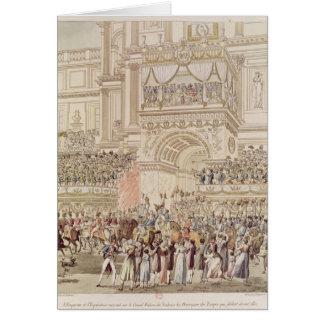 O imperador e a imperatriz que recebem a homenagem cartão comemorativo
