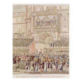 O imperador e a imperatriz que recebem a homenagem cartão postal
