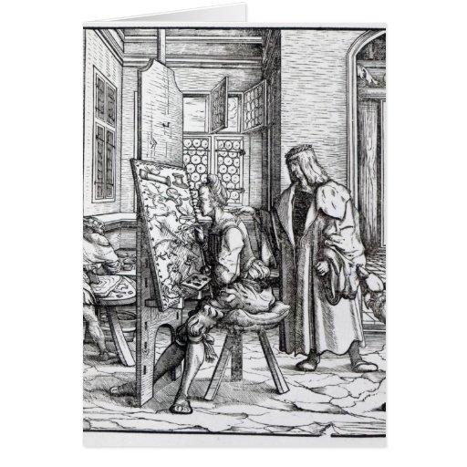 O imperador no estúdio do artista cartoes