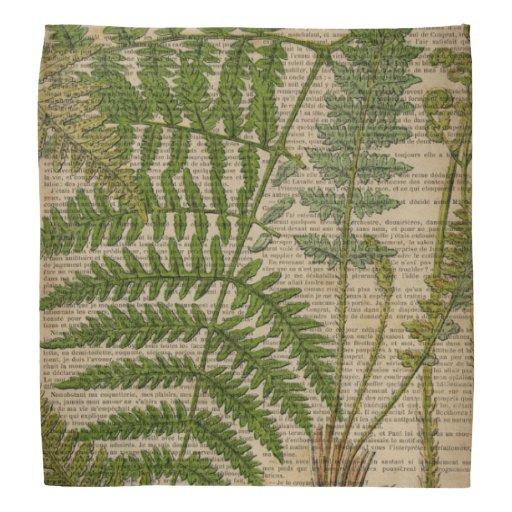 o impressão botânico do vintage sae da samambaia panos para cabeça