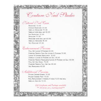 O impressão branco do brilho prega a lista do menu