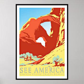O impressão do poster vintage considera os Estados