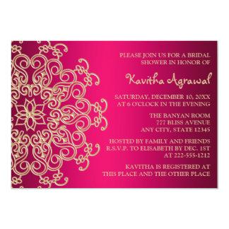 O indiano do rosa quente e do ouro inspirou o chá convite 12.7 x 17.78cm