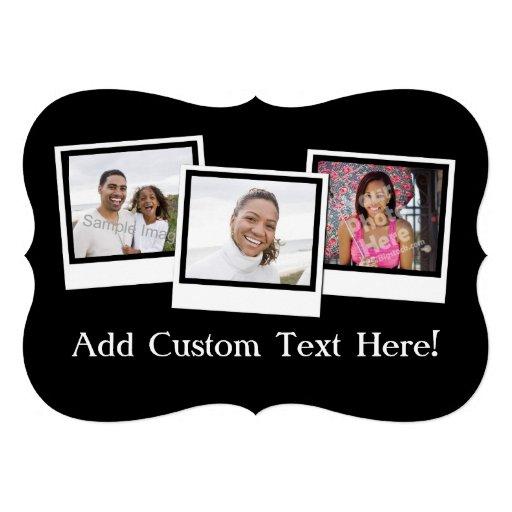 O instantâneo 3-Photo personalizado molda a cor fe Convite Personalizado