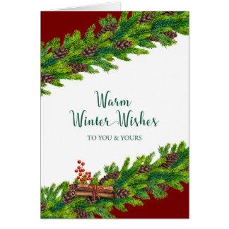 O inverno morno do Natal deseja a festão do pinho Cartão