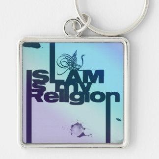 O Islão é minha religião - impressão árabe islâmic Chaveiro Quadrado Na Cor Prata