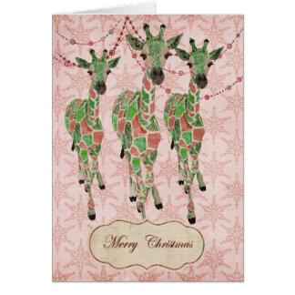 O jade do vintage cora cartão de Natal dos girafas