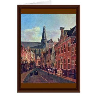 O Jansstraat em Haarlem com o St. Bavochurch Cartão