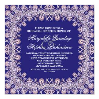o jantar de ensaio azul marrom do damasco convida convite quadrado 13.35 x 13.35cm
