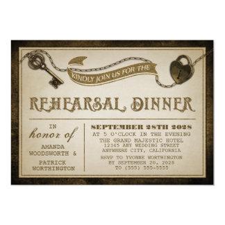 O jantar de ensaio da chave de esqueleto do convite 12.7 x 17.78cm