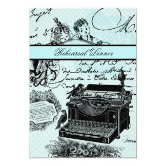 O jantar de ensaio das cartas de amor do vintage convite 12.7 x 17.78cm