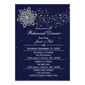 O jantar de ensaio de prata do inverno dos azuis convite 12.7 x 17.78cm