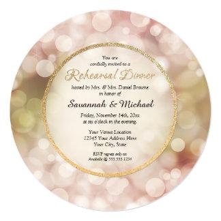 O jantar de ensaio do ouro da faísca da cintilação convite personalizado