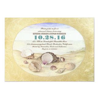 O jantar de ensaio dos seashells da praia do convite 12.7 x 17.78cm