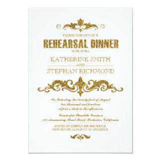 o jantar de ensaio elegante da folha do brilho do convites personalizados