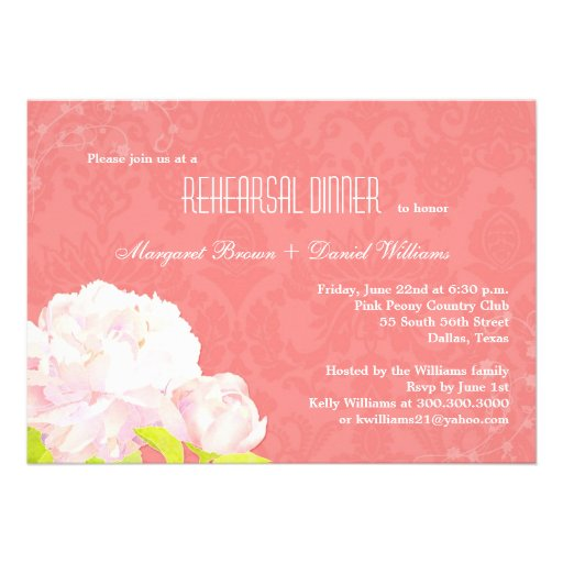 O jantar de ensaio floral do casamento do recife d convites personalizado
